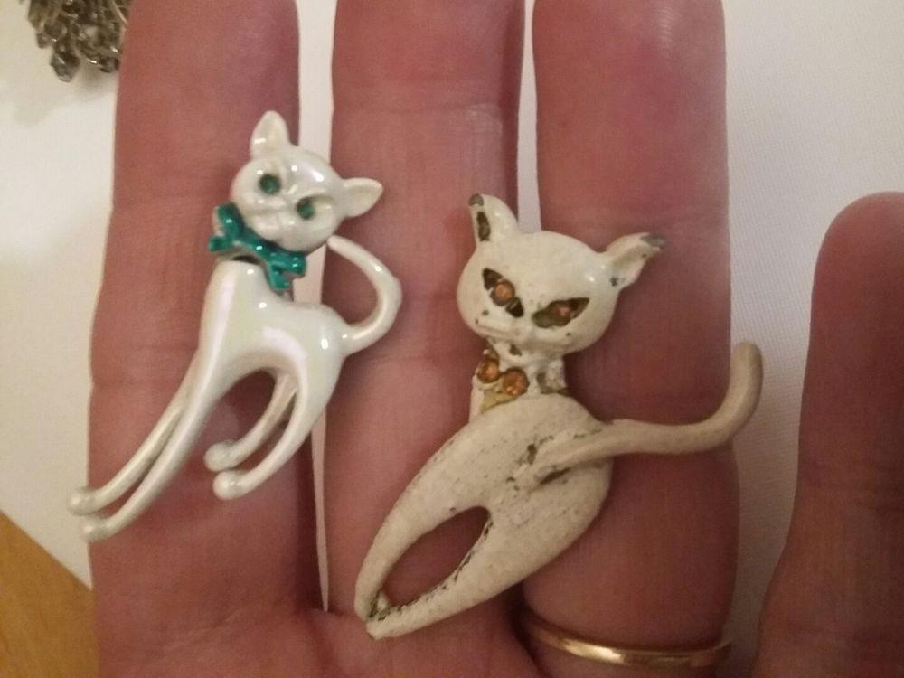 vintage rhinestone cat  brooch lot