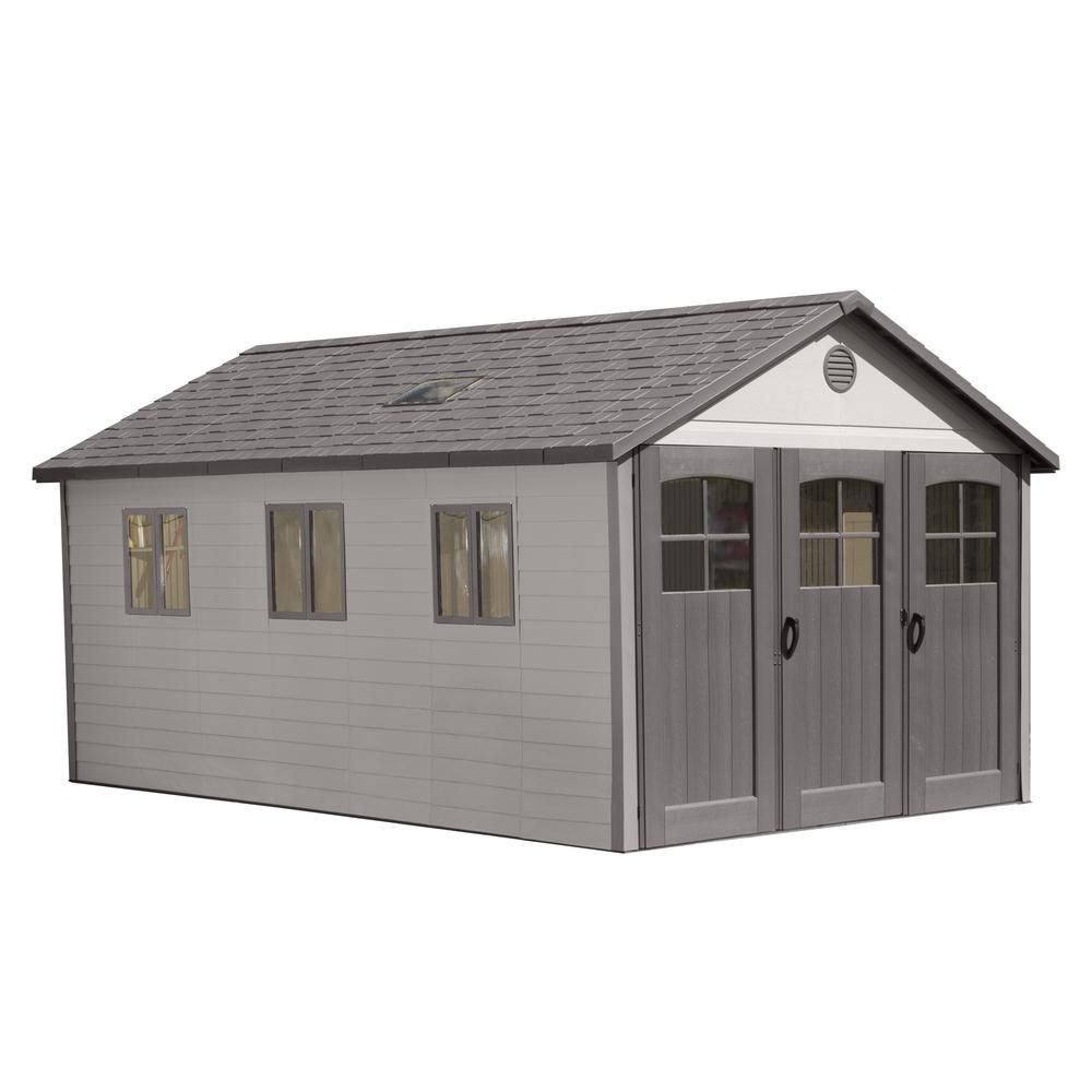 Lifetime 11 Ft X 21 Ft Wide Carriage Door Storage Shed 60237 The Home Depot Outdoor Storage Sheds Plastic Storage Sheds Storage Shed