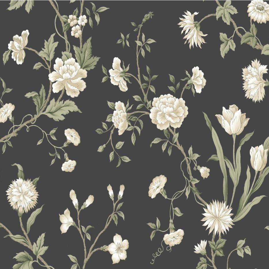 Black white floral wallpaper