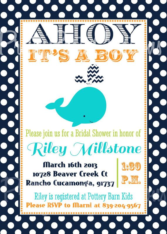 Turquoise Or Navy Dots Whale Baby Shower By