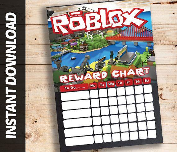 INSTANT DOWNLOAD Roblox Printable Reward Chart Gamer Block Pixels DIY Chore Behaviour Tracker ...