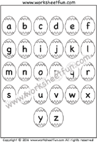 Easter Worksheets – Letter Chart – a to z