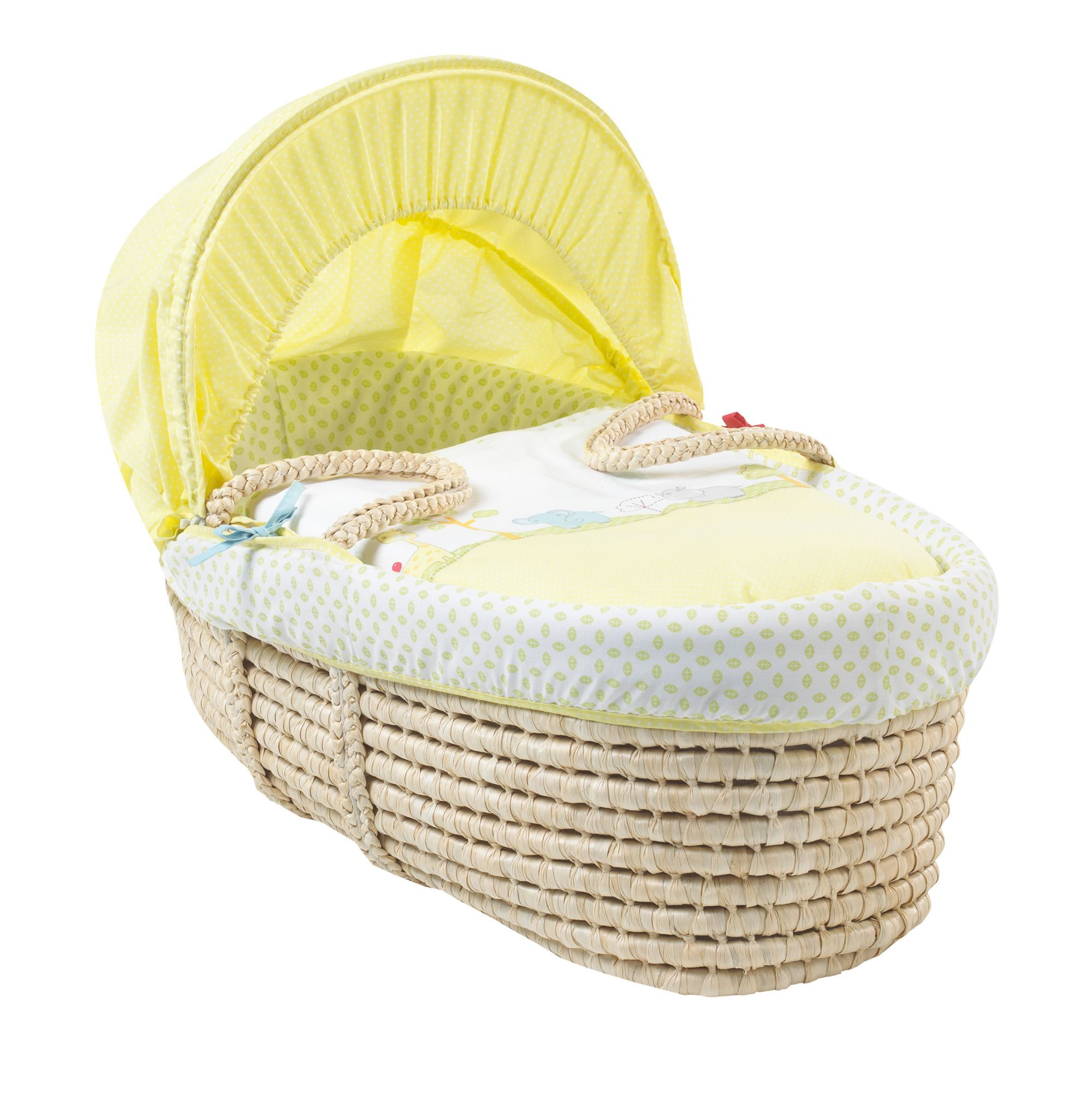 A Colourful Moses Basket Featuring The Snoozie Safari Characters To Create A  Cosy Place For Your New Baby To Sleep. Great Pictures
