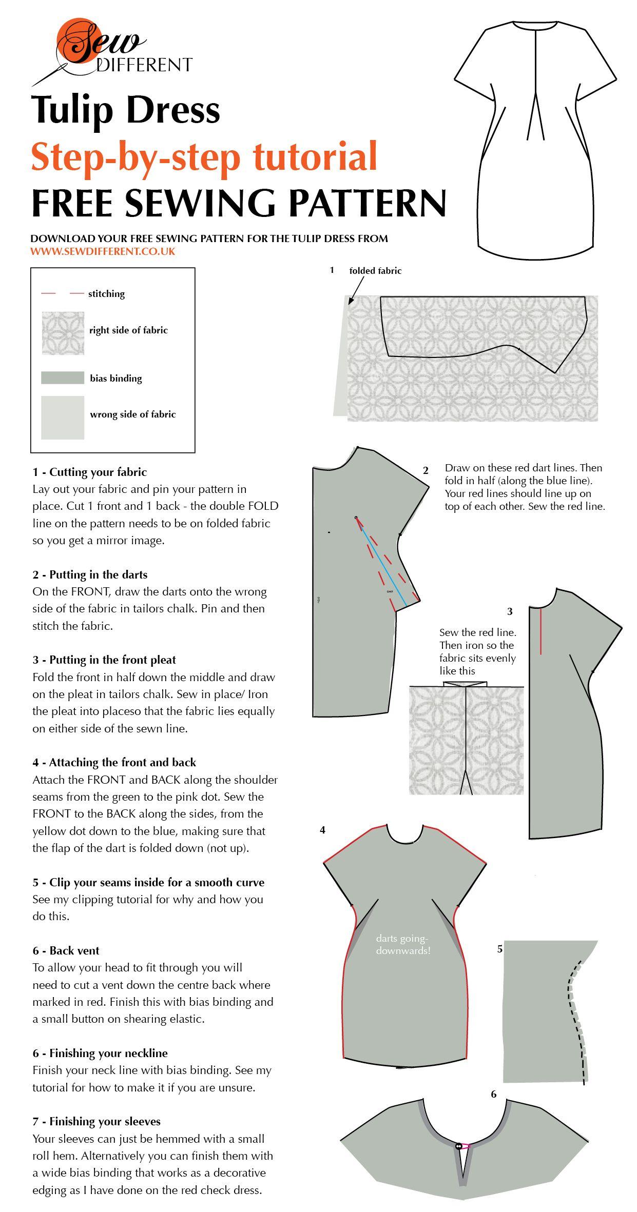 Tulip Dress - Free sewing pattern LC010 | Nähen, Schnittmuster und ...