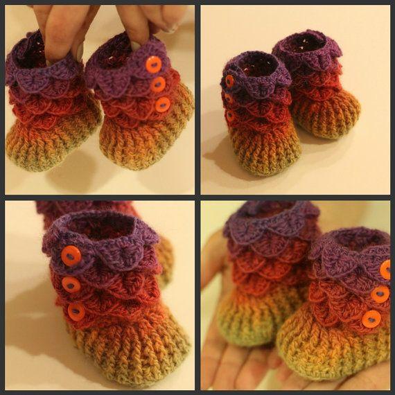 CROCHET PATTERN: Dragon Crocodile Stitch Booties (Baby Sizes ...
