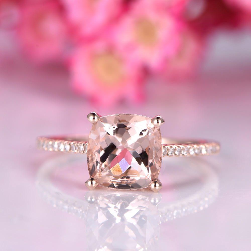 Big morganite engagement ring 8mm cushion cut morganite ring ...
