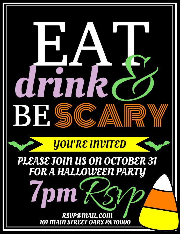 Bar Halloween Party Announcement Flyer Social Media Template