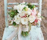 White, Pink And Green Wedding Bouquet.  I Love the various ribbons used to make the stems very soft and romantic.
