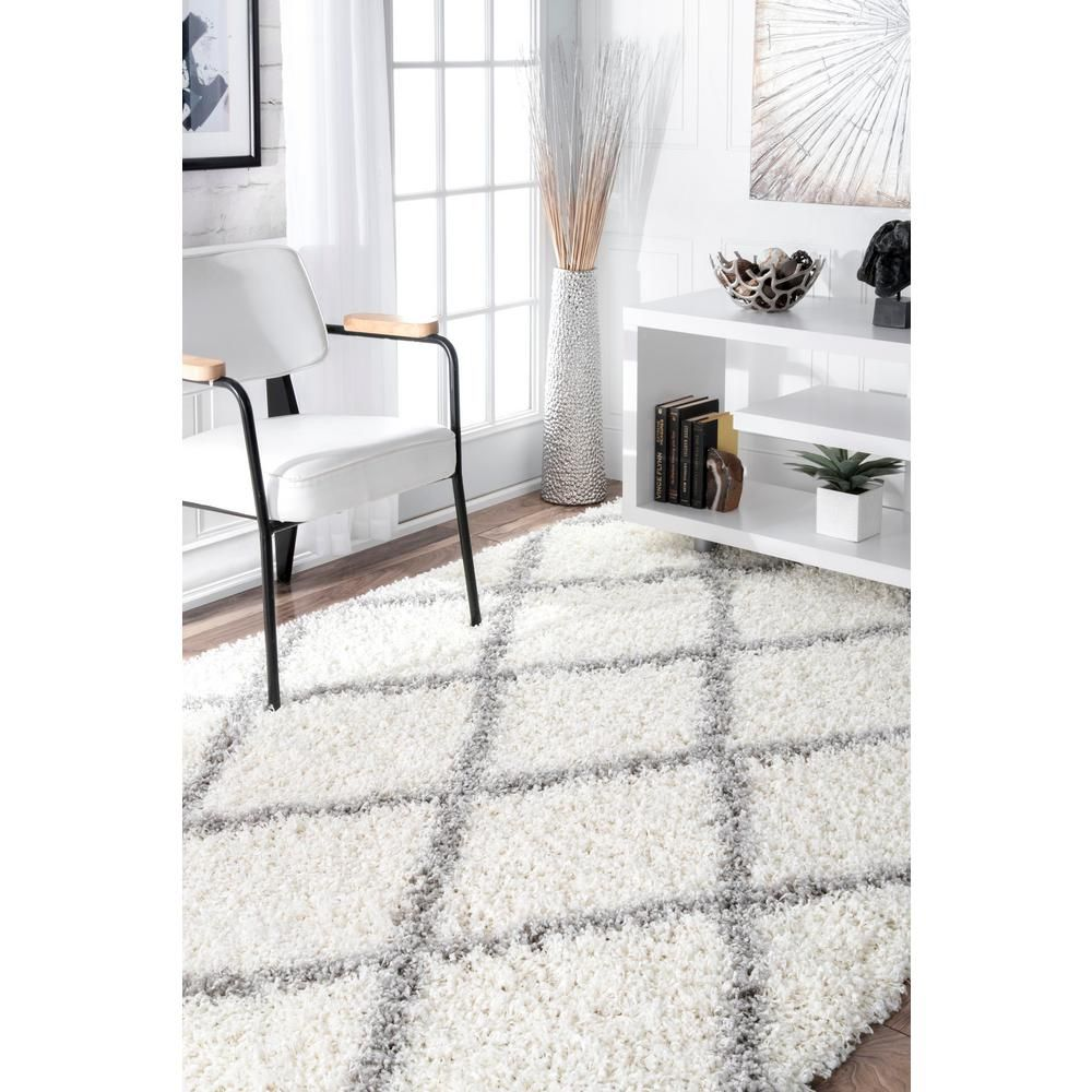 Nuloom Shanna Easy Shag White 5 Ft X 8 Ft Area Rug Ozez04a 508 The Home Depot Rugs Usa White Rug Rugs