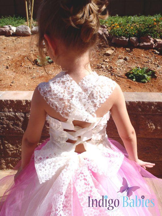 Hochzeiten, Blumenmädchen Kleid, Tutu Kleid, Elfenbein und rosa Tutu ...