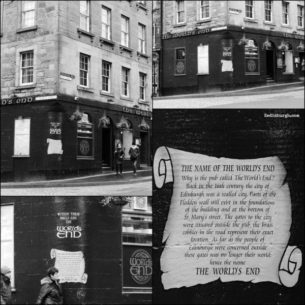 The World's End Public House, Edinburgh in which Mr Willoughby is to be found in Outlander, Voyager (book 3 of the Outlander Series).  Under the pub are the remains of the Flodden Wall constructed following the Battle of Flodden Field in 1513.