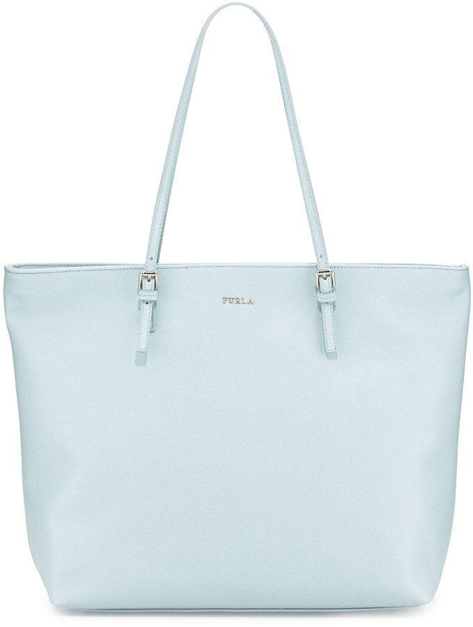 Furla D-Light Leather Medium Tote, Light Blue (Rugiada) on shopstyle.com