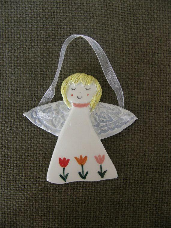 Angel wit FlowersCeramic Angel OrnamentGuardian by TatjanaCeramics, $7.00