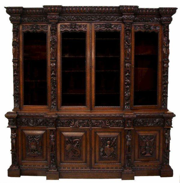 Fine French Renaissance Style Carved Bookcase May 23 2010 Austin Auction Gallery In Tx Gorgeous Furniture China Cabinet Fine Woodworking