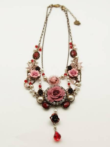 273 ◇ Princess Rose necklace A Gold Pink Akushizu _ image 1