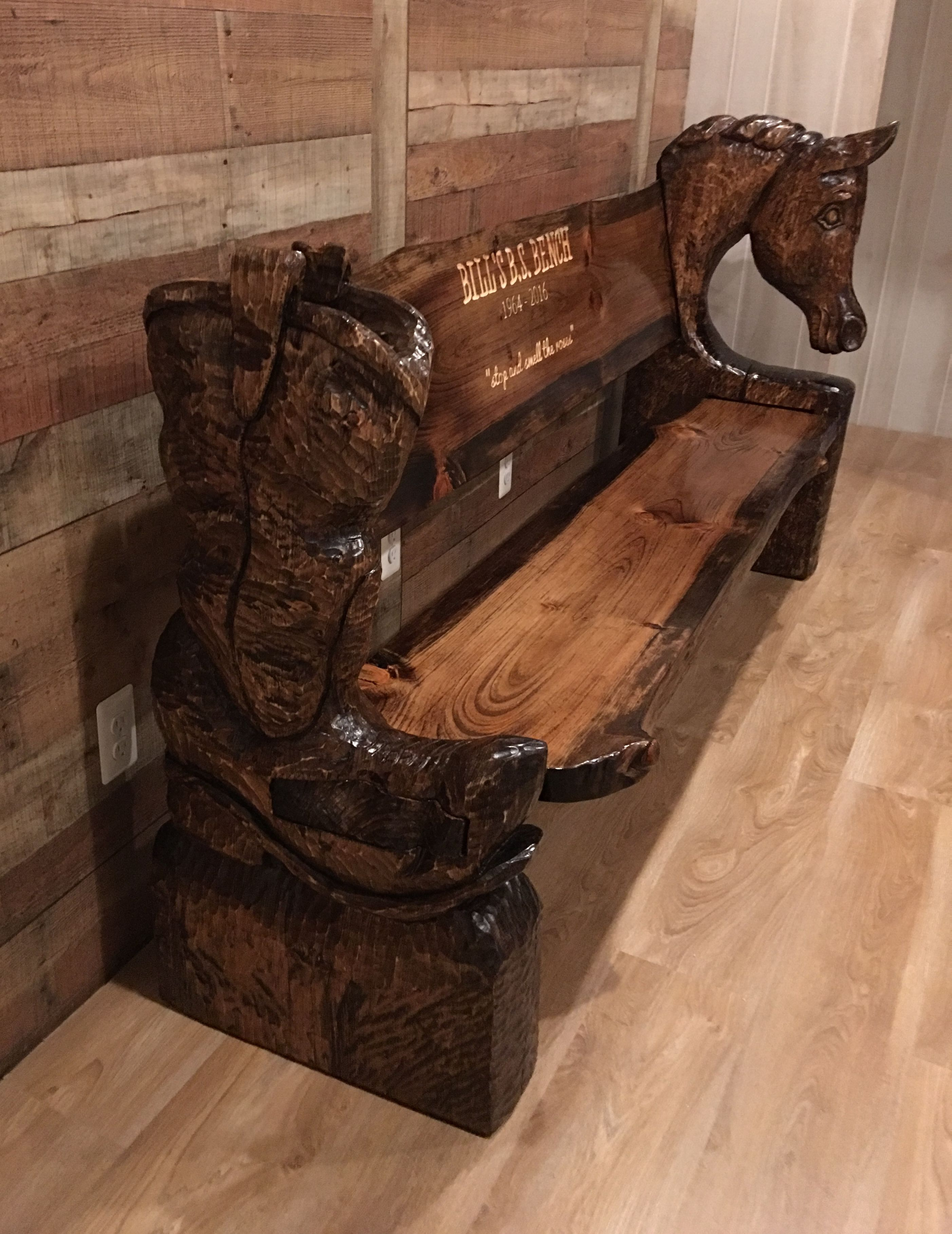 Custom Chainsaw Carved Horse Cowboy Boot Bench