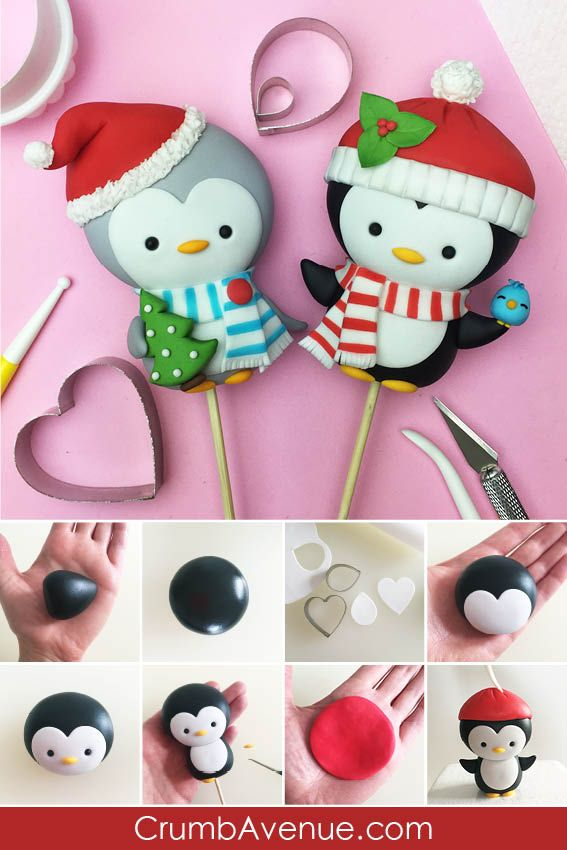 FREE Tutorial - Cute Penguin Cake Topper
