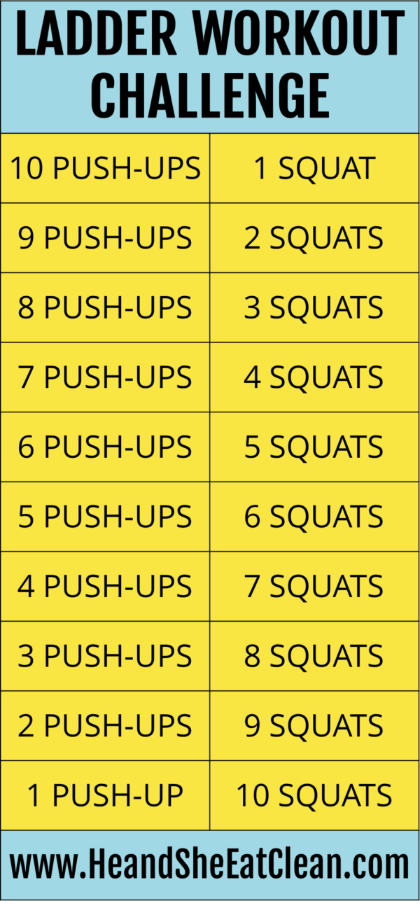 Ladder Workout Challenge: Push-Ups + Squats | Clean Eating