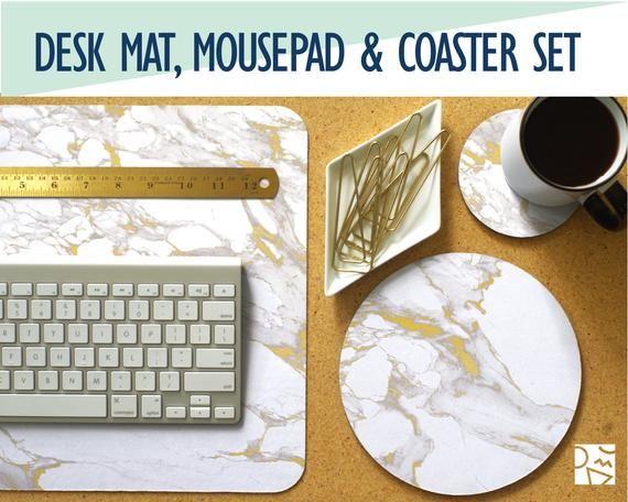 Weißer Marmor und Gold Print Schreibtisch Matte, Maus Pad
