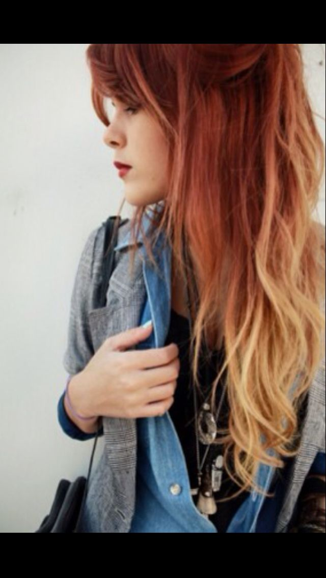 Ombre hair - red to blonde :) I really want to get my hair dyed like this this summer except opposite cause I have naturally blonde hair- beautiful!