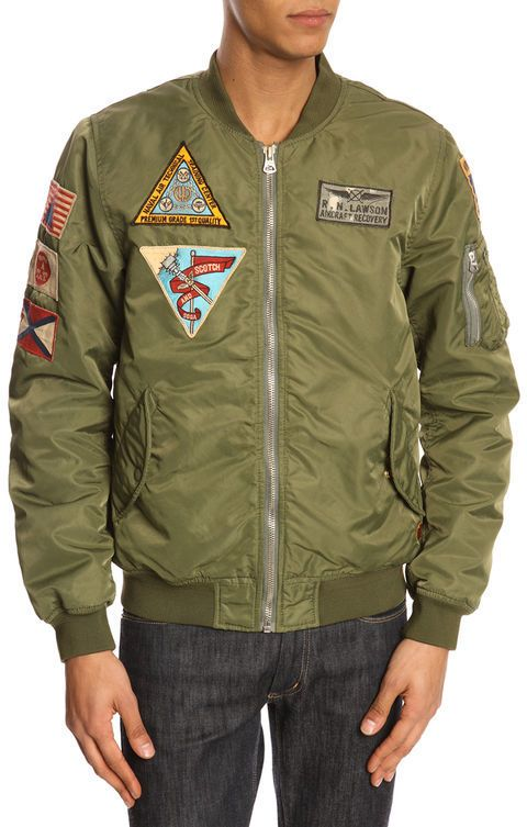 Scotch And Soda Khaki Military Patched Bomber Jacket With Removable