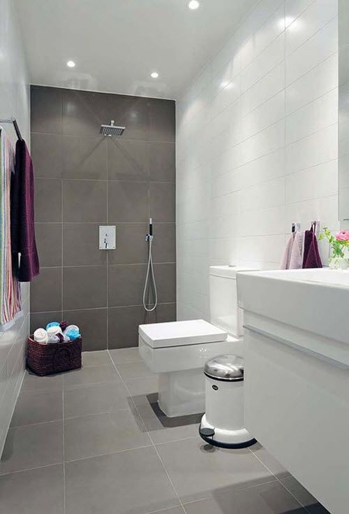 Color Scheme Dark Gray Shower Light Gray Floor White Fixtures Dark Gray For Back Splash Small Bathroom Tiles Bathroom Design Small Simple Bathroom
