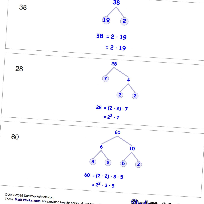 Math Worksheets Prime Factorization Prime Factorization Math Worksheets Homeschool Math