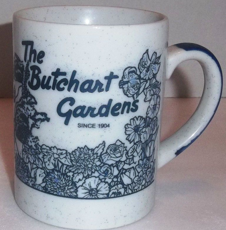 Vintage THE BUTCHART GARDENS Canada Coffee Cup Mug Travel
