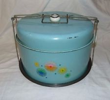 Vintage Metal AQUA STARBUST Double Cake & Pie Carrier with Handle