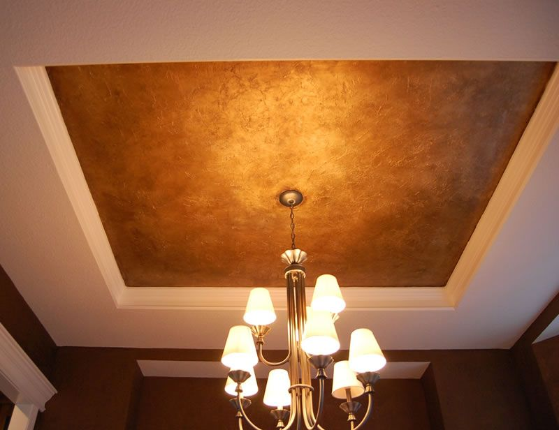 Metallic Gold Copper Ceiling Front Hall Glam Jewel Box