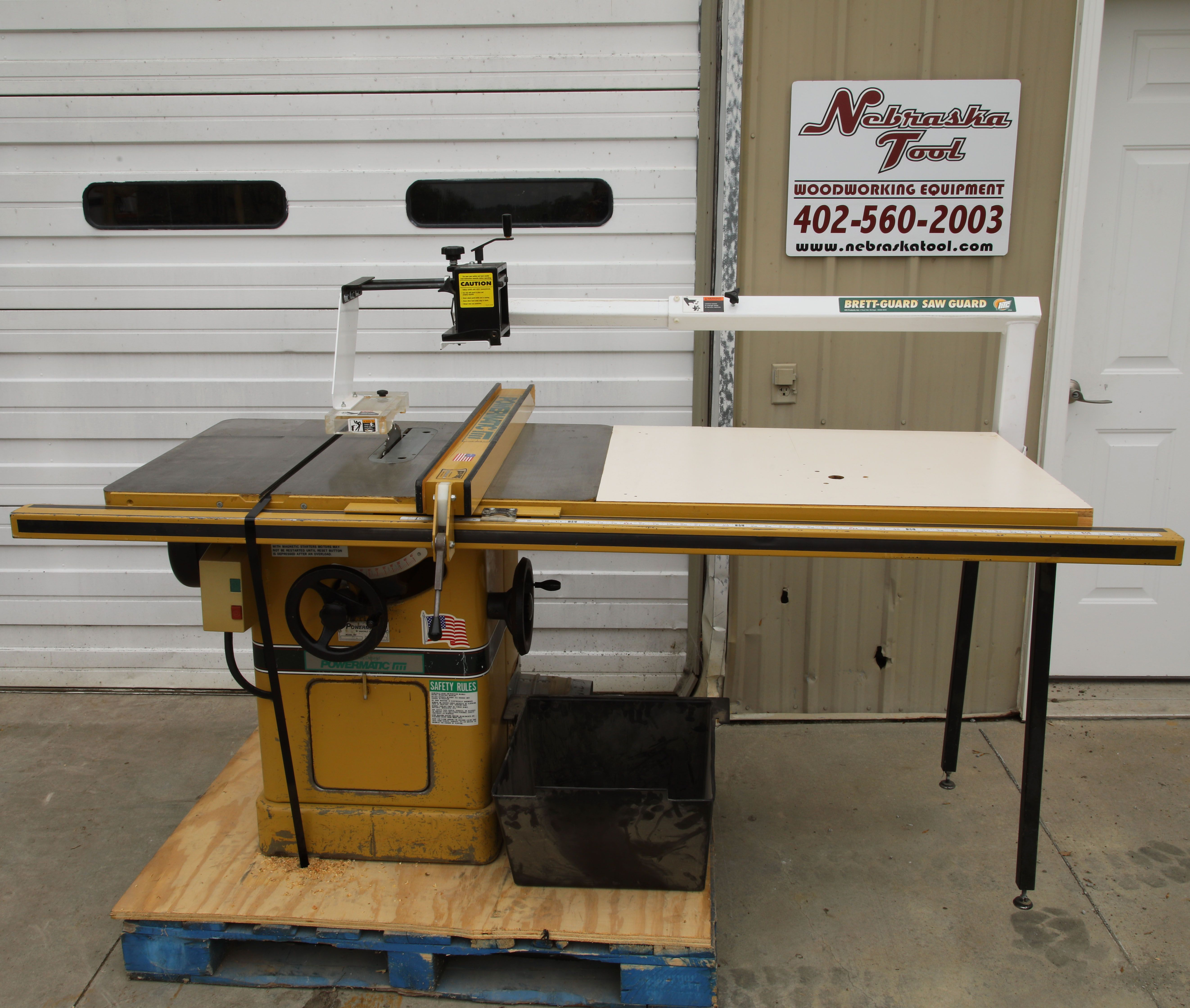 Powermatic 66 Table saw with Brett guard over arm saw guard  www