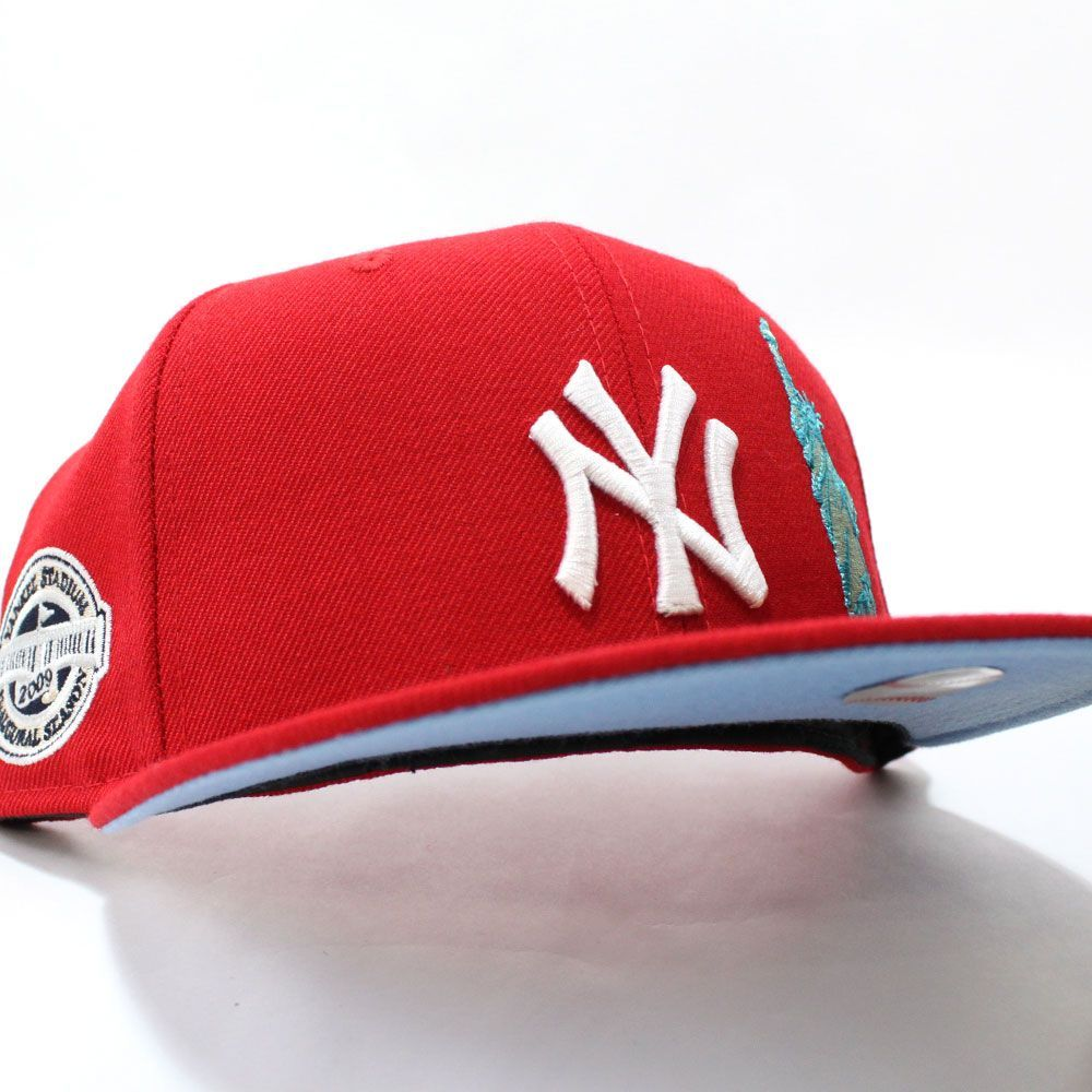 Statue Of Liberty Newyorkyankees 2009 Inaugural Season 59fifty Fitted Neweracap In Red Skyblueunderbrim Ecapcity Fitted Hats Hats New Era Snapback