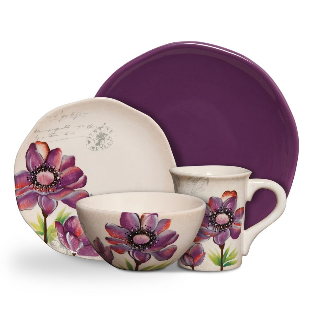 Botanical Charm Purple 16 Piece Floral Dinnerware Set