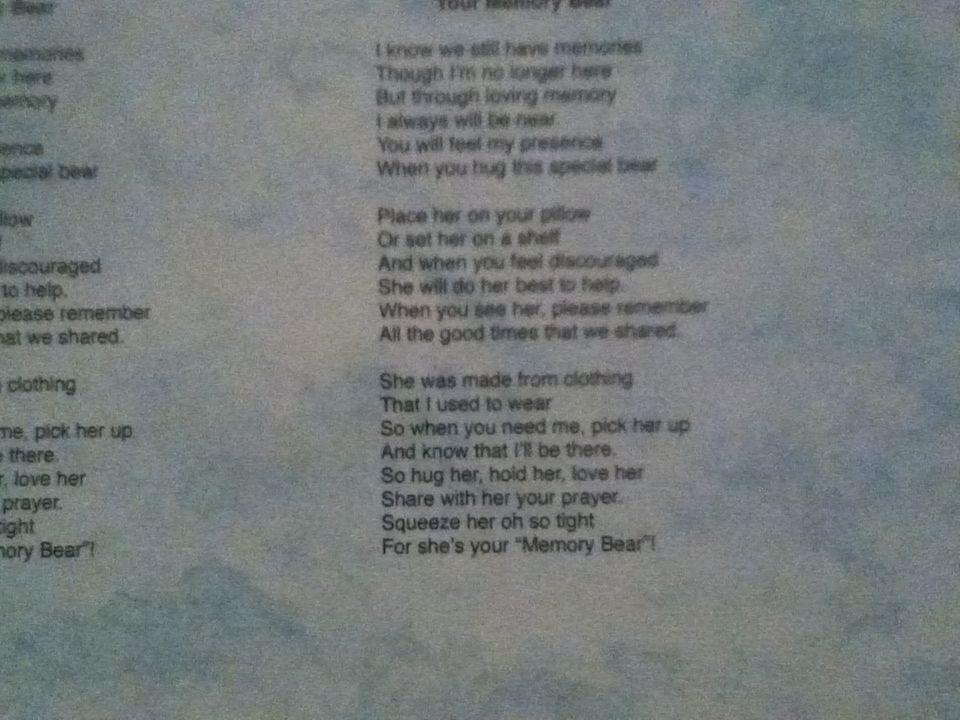 Poem that went with the memory bears!