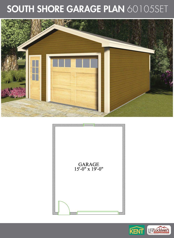 South Shore Garage Plan 16 X 20 1 1 2 Car Garage 60105set