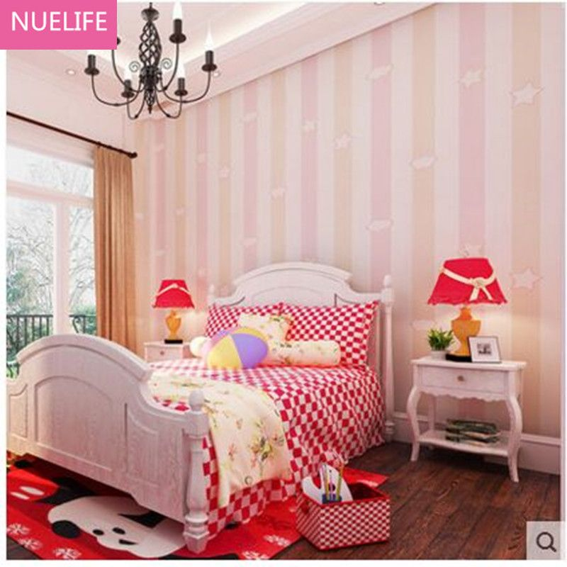 0.53x10m Nonwovens Kids Room Wallpapers Men Girls Blue Vertical ...