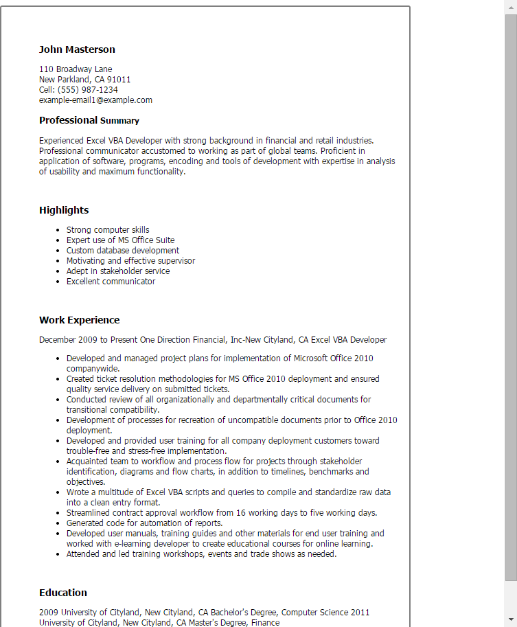 Resume Templates Excel , ResumeTemplates Resume