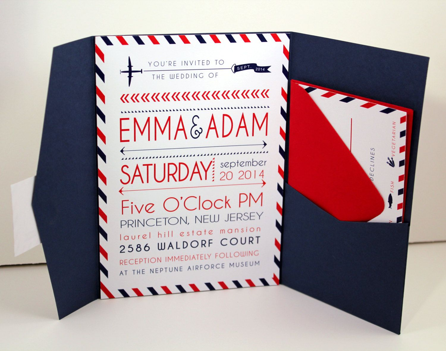Travel Theme Pocketfold Wedding Invitations Red And Navy Colors With Postal Stripes Airplane