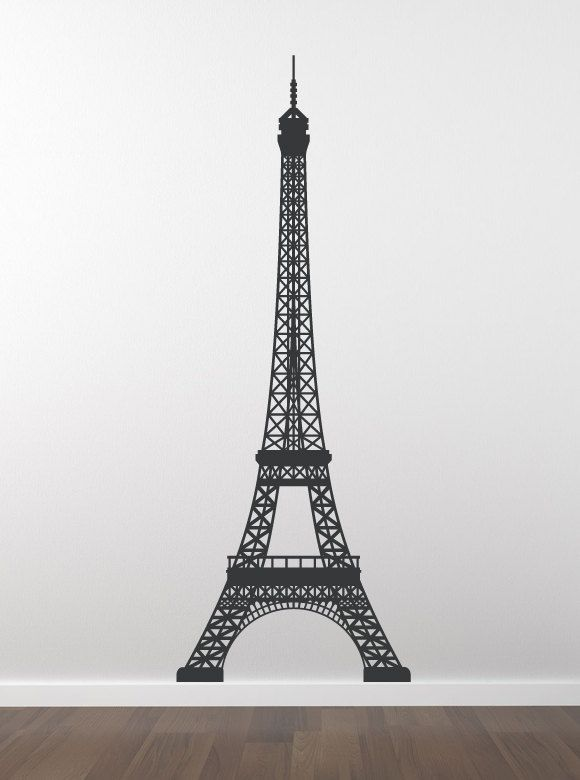 eiffel tower decal paris skyline wall decal wall decor la tour eiffel vinyl wall decal. Black Bedroom Furniture Sets. Home Design Ideas
