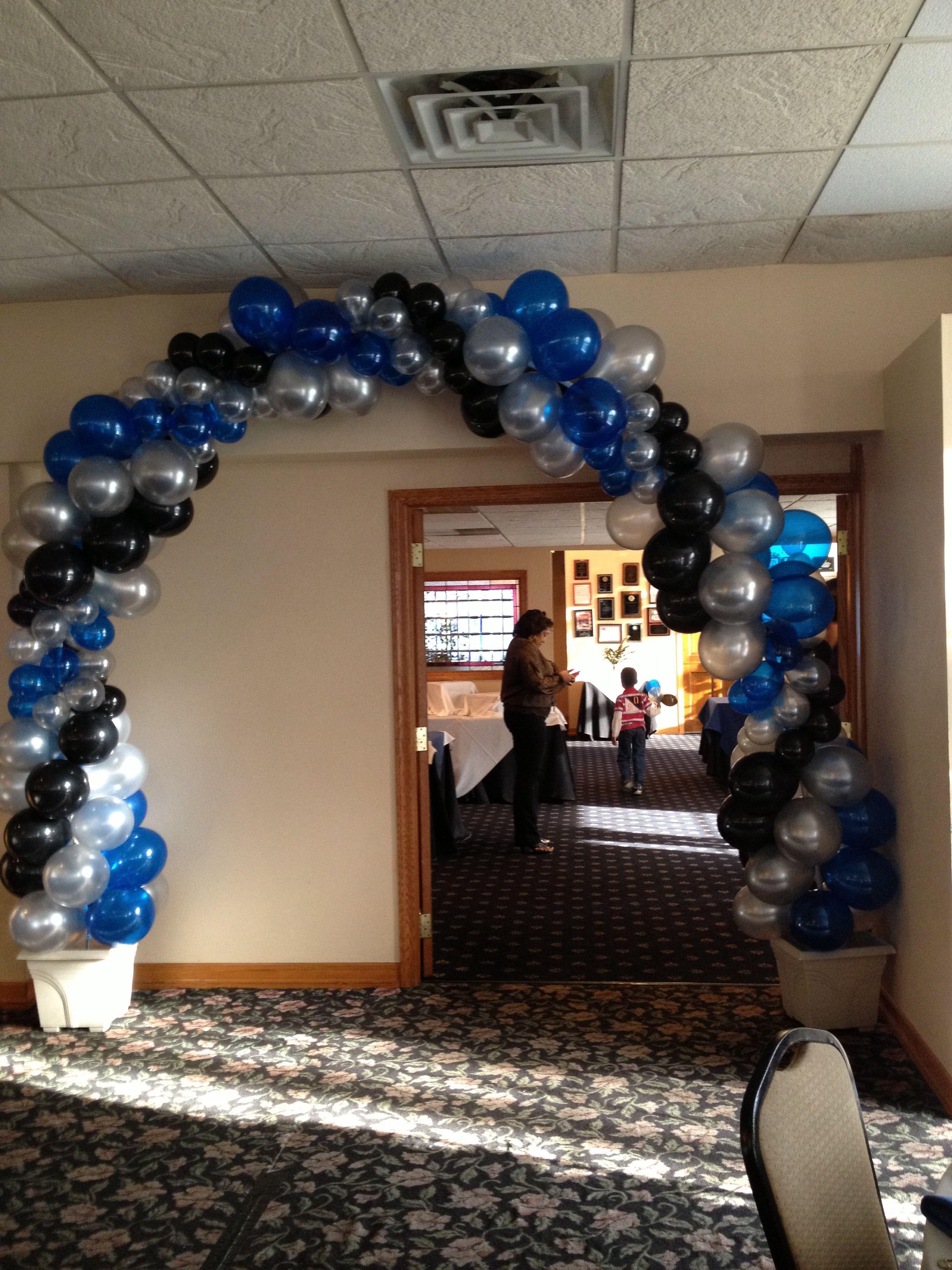 3 Color Swirl Arch Sapphire Blue Black And Silver Decoración Con Globos Globos Decoración De Unas