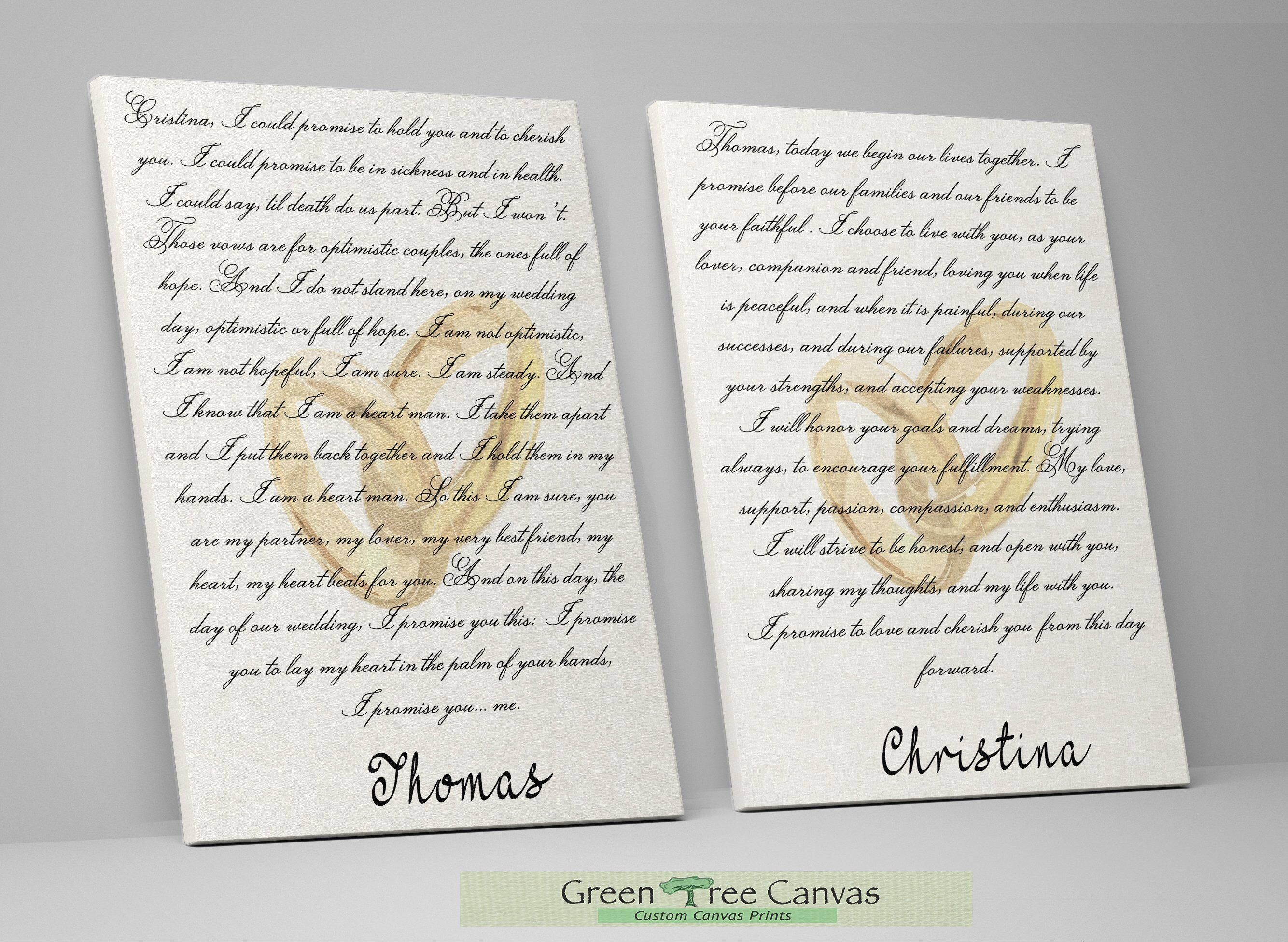 Wedding vows framed, 1st anniversary gift, His and Hers wedding gift ...