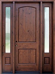 2 Panel Rustic Exterior Door With Rain Glass Sidelights