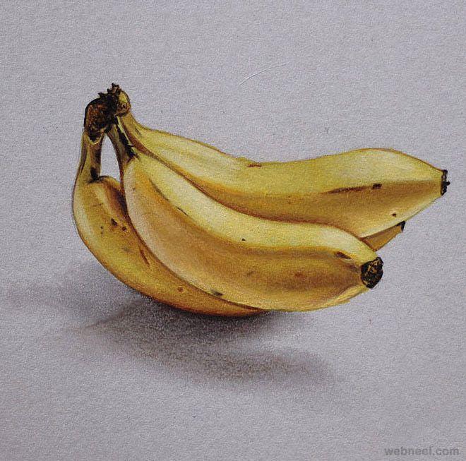 4 Banana Realistic Drawing By Marcello Barenghi