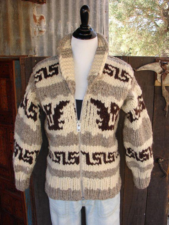 053277e8752 Vtg 70s 100 wool handknit COWICHAN sweater jacket. by Ilumina2 ...