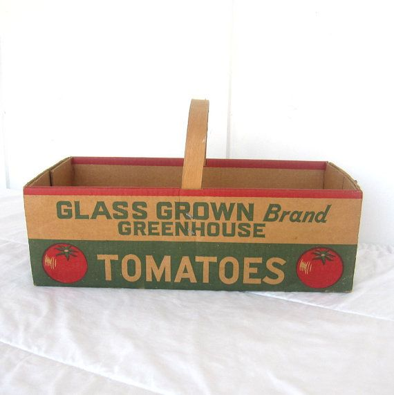Tomato Box Basket Heavy Cardboard with Wooden Handle 1960s Vintage Home Decor