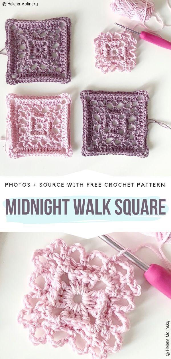 Motifs de dentelle carrés Crochet Patterns gratuits   – Grannie's