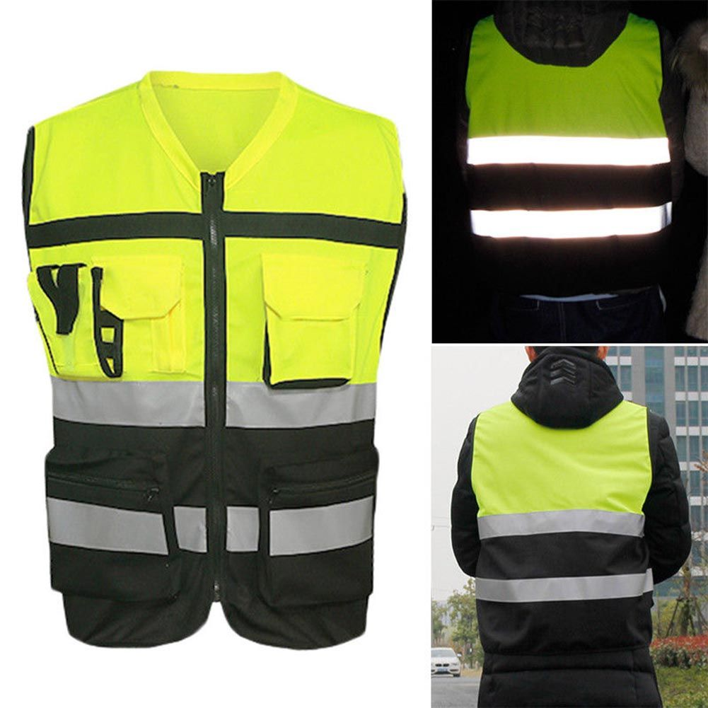 Safety Vest Reflective Driving Jacket Night Security Waistcoat With Pockets Xm66