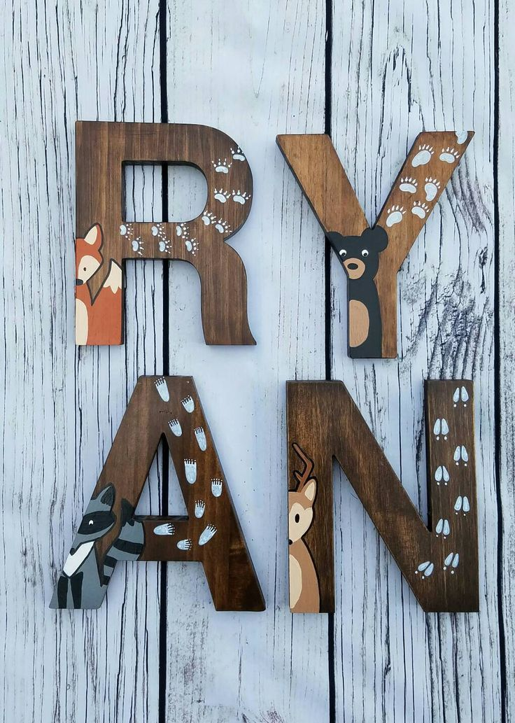 Wooden Letters For Nursery Woodland Decor Hand