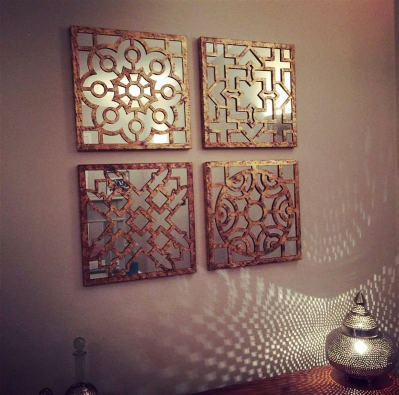 Designcall Store Bronze Sectioned Mirror Wall Art Natural ...
