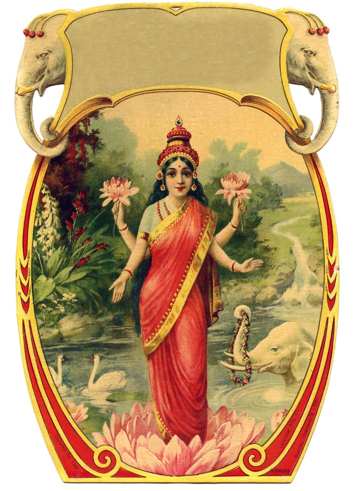 Vintage Graphic Beautiful Goddess with Lotus Flower